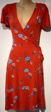 DOROTHY PERKINS ORANGE FLORAL JERSEY WRAP DRESS SIZE 6
